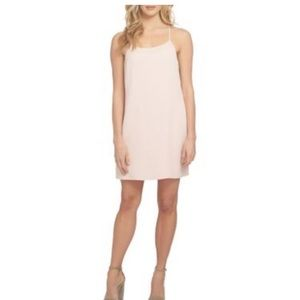 Baby pink slip dress with sheer neck line